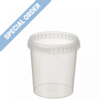 1Ltr Clear Round Tamper Evident Container - SPECIAL ORDER ONLY